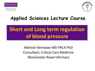 Short and Long term regulation of blood pressure
