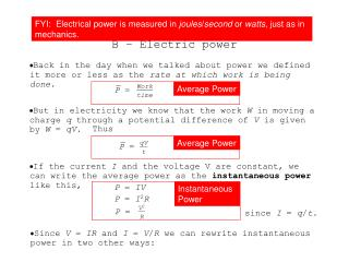 Topic 5.1 Extended B – Electric power