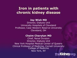 Iron in patients with chronic kidney disease