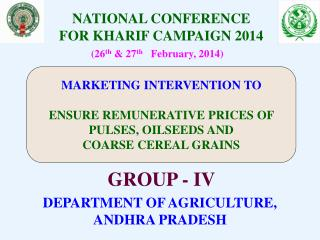 NATIONAL CONFERENCE  FOR KHARIF CAMPAIGN 2014