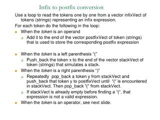 Infix to postfix conversion