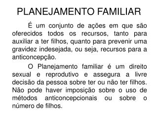PLANEJAMENTO FAMILIAR