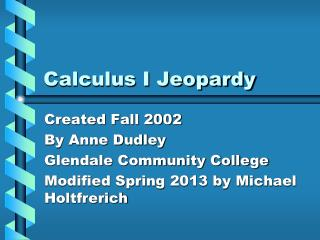 Calculus I Jeopardy