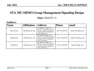 STA MU-MIMO Group Management Signaling Design