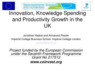 Innovation, Knowledge Spending and Productivity Growth in the UK
