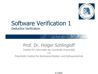 Software Verification 1 Deductive Verification