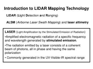 Introduction to LIDAR Mapping Technology