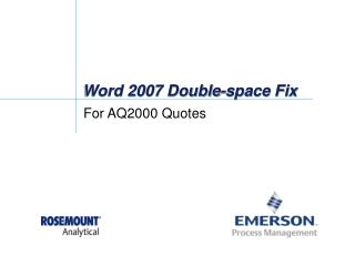 Word 2007 Double-space Fix