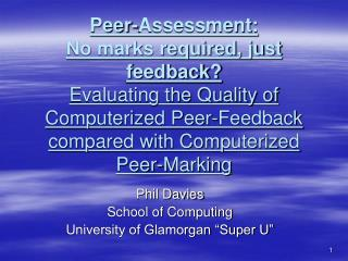 "Phil Davies School of Computing University of Glamorgan ""Super U"""