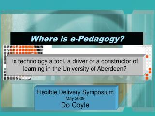 Where is e-Pedagogy?