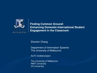 Finding Common Ground:  Enhancing Domestic-International Student Engagement in the Classroom