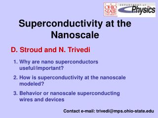 Superconductivity at the Nanoscale