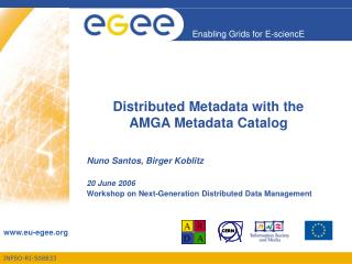 Distributed Metadata with the  AMGA Metadata Catalog