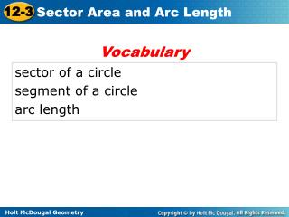 sector of a circle segment of a circle arc length