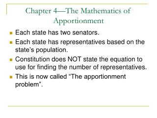 Chapter 4—The Mathematics of Apportionment