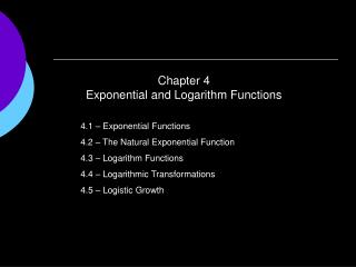 Chapter 4 Exponential and Logarithm Functions