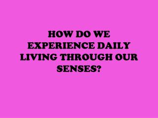 HOW DO WE EXPERIENCE DAILY LIVING THROUGH OUR SENSES?