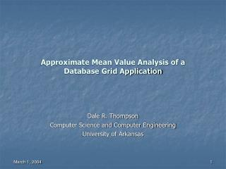 Approximate Mean Value Analysis of a Database Grid Application