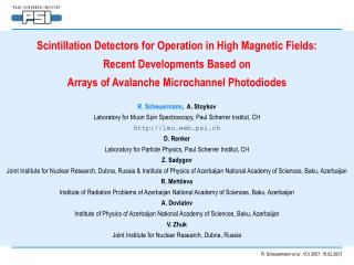 Scintillation Detectors for Operation in High Magnetic Fields:  Recent Developments Based on
