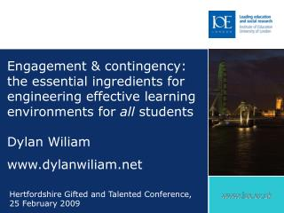 Engagement  contingency: the essential ingredients for engineering effective learning environments for all students  Dyl