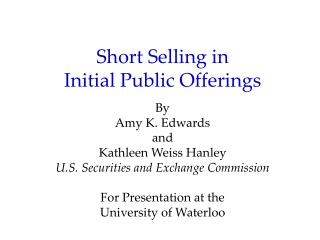 Short Selling in  Initial Public Offerings