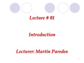 Lecture # 01 Introduction Lecturer: Martin Paredes