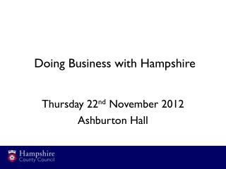 Doing Business with Hampshire