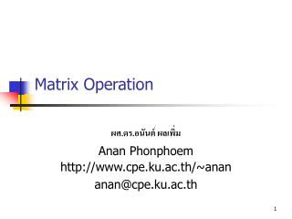 Matrix Operation