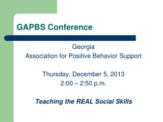 GAPBS Conference