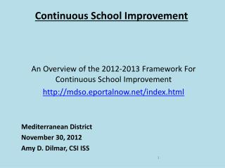 Continuous School Improvement