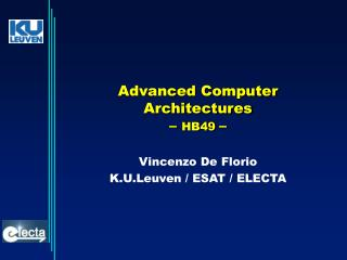 Advanced Computer Architectures –  HB49  –
