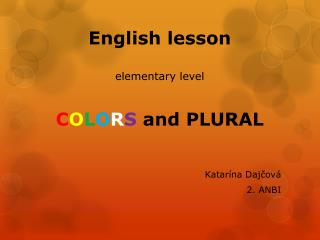 English lesson elementary level C O L O R S  and PLURAL