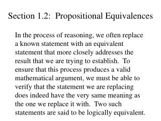 Section 1.2:  Propositional Equivalences