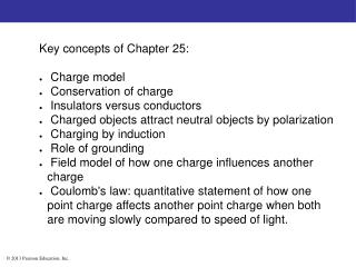 Key concepts of Chapter 25:  Charge model  Conservation of charge  Insulators versus conductors