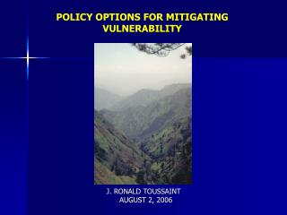 POLICY OPTIONS FOR MITIGATING VULNERABILITY