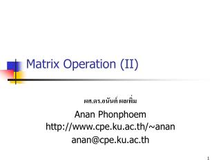 Matrix Operation (II)