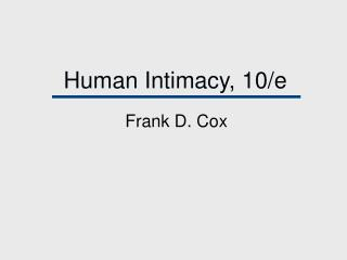 Human Intimacy, 10/e