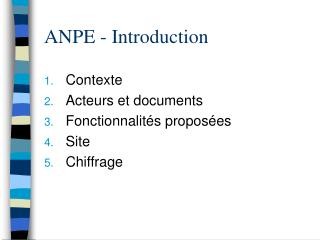 ANPE - Introduction