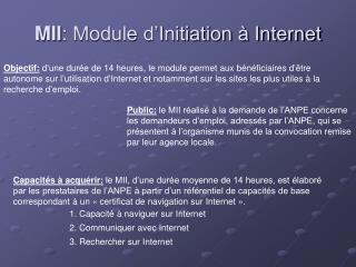 MII : Module d'Initiation à Internet