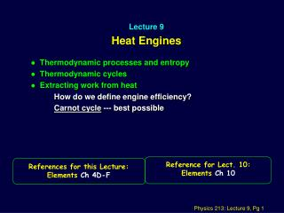 Lecture 9 Heat Engines