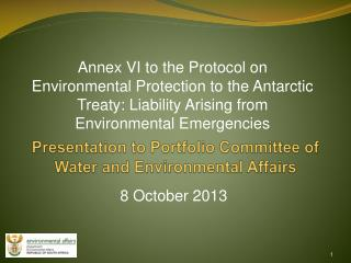 Presentation to Portfolio Committee of Water and Environmental Affairs