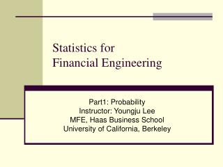 Statistics for  Financial Engineering