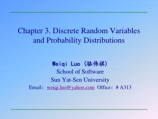 Chapter 3. Discrete Random Variables and Probability Distributions