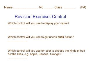 Revision Exercise: Control