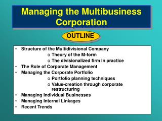 Managing the Multibusiness Corporation