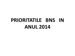 PRIORITATILE   BNS   IN   ANUL 2014