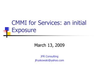 CMMI for Services: an initial Exposure