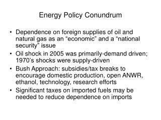 Energy Policy Conundrum