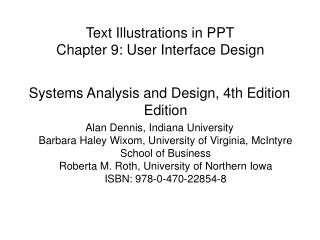 Text Illustrations in PPT Chapter 9: User Interface Design