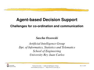 Agent-based Decision Support Challenges for co-ordination and communication